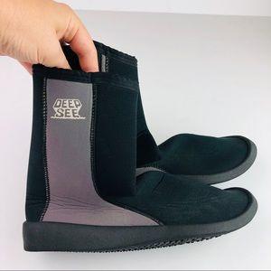 Deep See Scuba Diving Boots Shoes Black Gray Zip